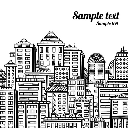 Panorama of the city cartoon illustration in black and white - vector