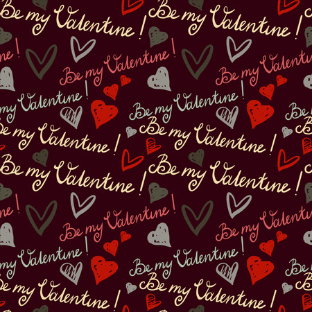 Holiday Valentines day seamless pattern  Text - Be MY Valentine and hearts  Doodle style - vector  Vector