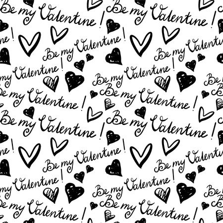 Holiday Valentines day seamless pattern  Text - Be MY Valentine and hearts - vector  Vector