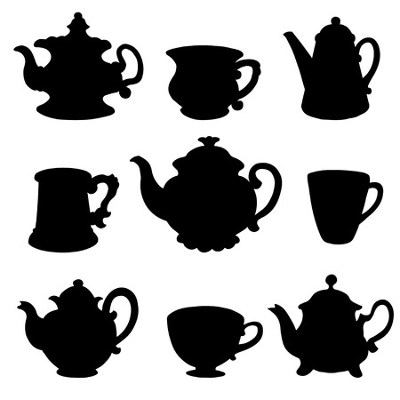 Set isolated icon black silhouette kettles, teapots, coffee pot, cups, mugs - vector  Illustration
