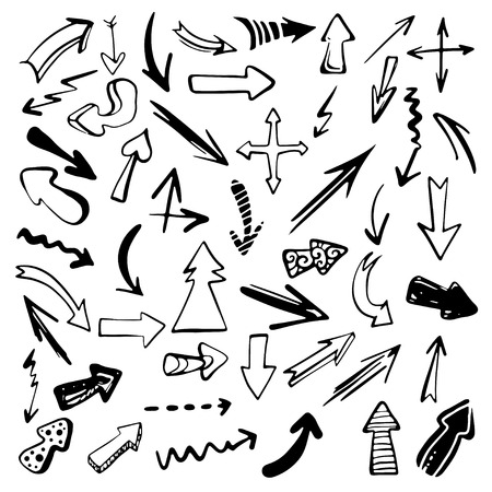 Set hand drawn doodle arrows black silhouette isolated - vector