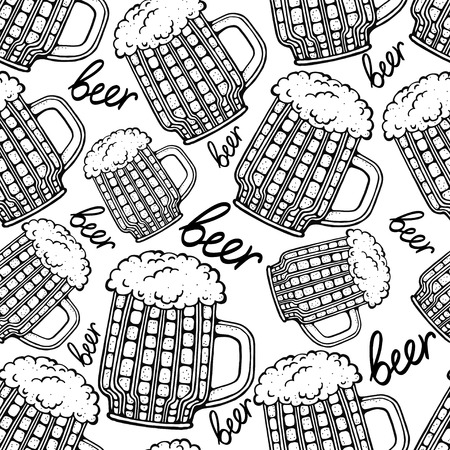 Seamless pattern with mug of beer - vector  Vector