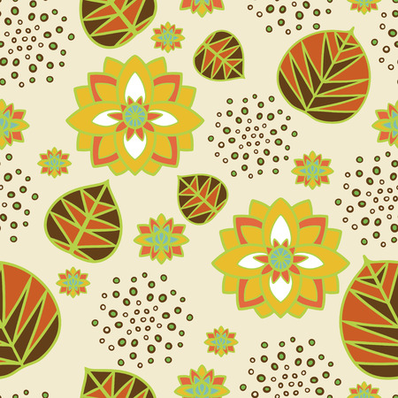 nenuphar: Floral seamless pattern with water lily flowers and leaves  Hand drawing  Vintage, retro style - vector  Illustration
