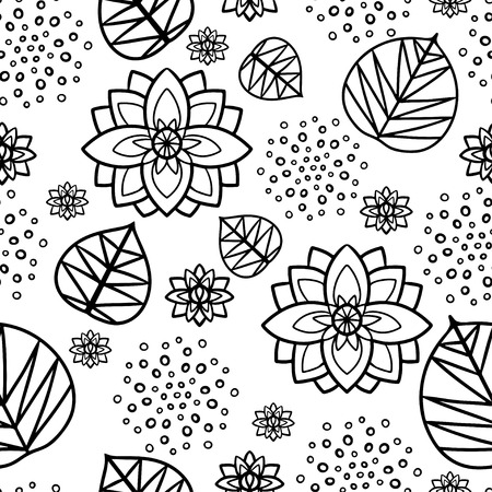 nenuphar: Seamless pattern with water lily flowers and leaves in black and white  Hand drawing - vector
