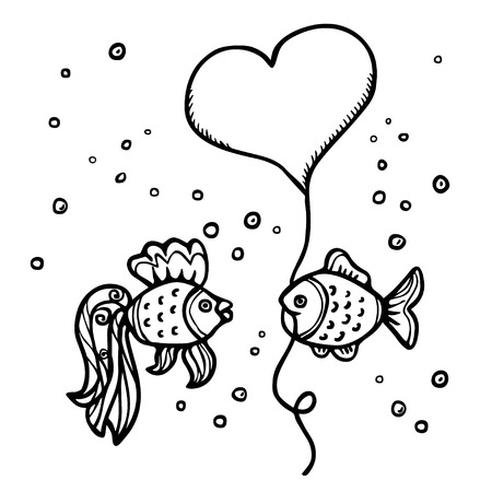 Valentines day background with fishes, heart and bubbles  Isolated on white background - vector Vector