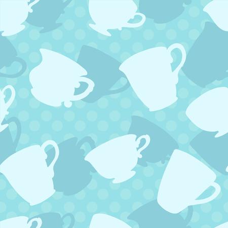 demitasse: Seamless pattern con le tazze da t�, tazze silhouette - vector Vettoriali