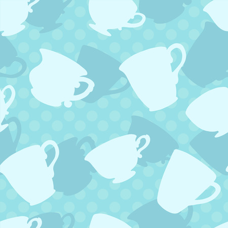 teatime: Seamless pattern with silhouette tea cups, mugs - vector