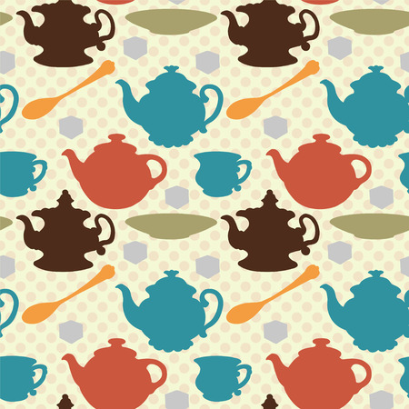 Seamless pattern with teapots, cups, mugs, spoons, saucers and sugar  Colored silhouette - vector Vector