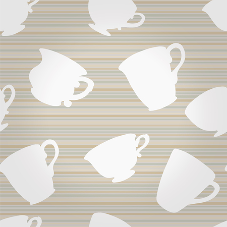 Seamless pattern with silhouette tea cups, mugs - vector Vector