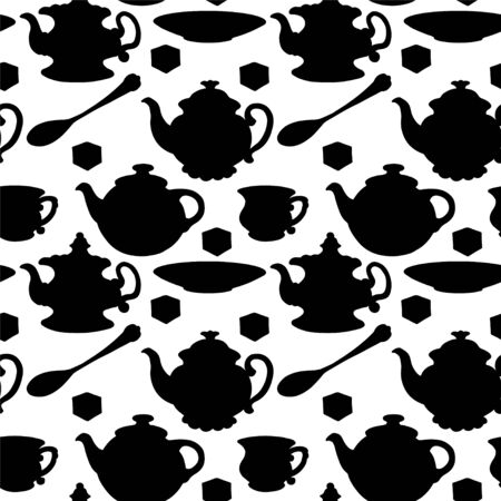 teakettle: Seamless pattern with teapots, cups, mugs, spoons, saucers and sugar in Black silhouette Illustration