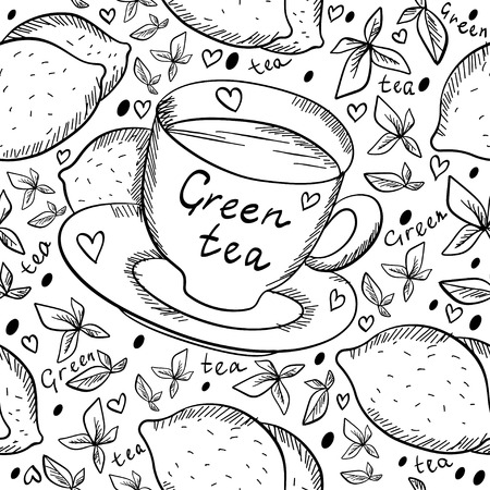 Seamless pattern with tea cups, hearts and lemons in black and white Vector