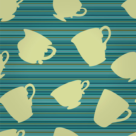 Seamless pattern with silhouette tea cups, mugs Vector