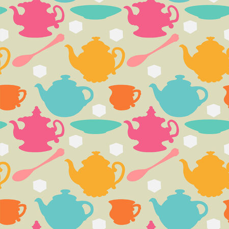 teatime: Seamless pattern with teapots, cups, mugs, spoons, saucers and sugar Colored silhouette