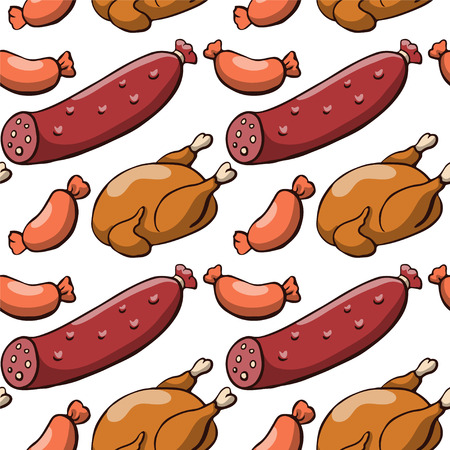hot chick: Seamless pattern with sausage and chicken