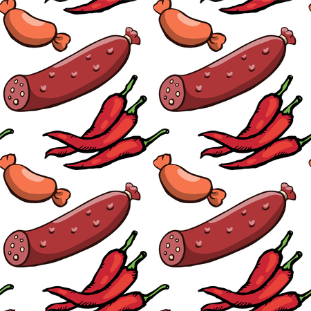 Seamless pattern with sausages and red hot chili peppers Vector