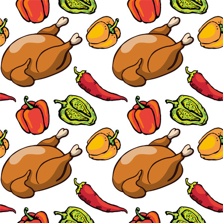 hot chick: Seamless pattern with chicken, red hot chili peppers and bell peppers