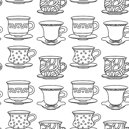 coffeecup: Seamless pattern with tea cups, coffee cups in black and white