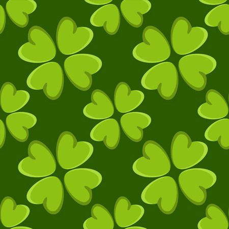 stpatrick: St. Patricks day seamless pattern with irish four leaf lucky clovers Illustration