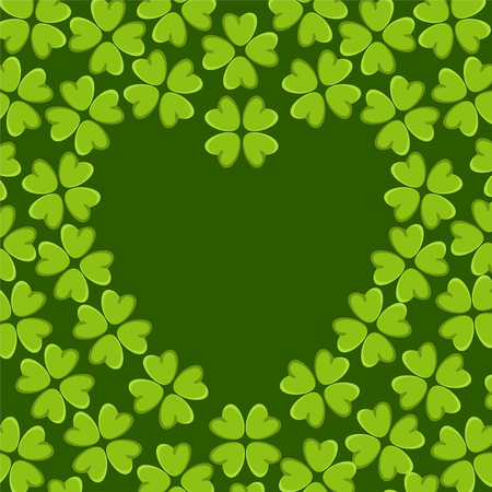 Holiday St. Patrick's day background with irish four leaf lucky clovers Frame heart Vector