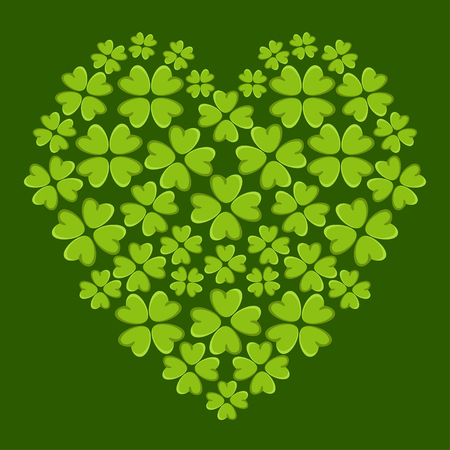 patrik day: Holiday St. Patricks day heart with irish four leaf lucky clovers isolated Illustration