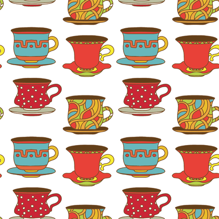 Seamless pattern with tea cups, coffee cups Vector