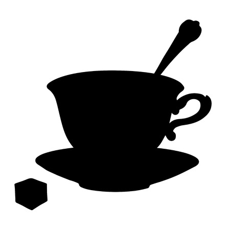 backlit: tea cup, coffee cup, spoon, saucer and sugar in Black silhouette isolated on a white background