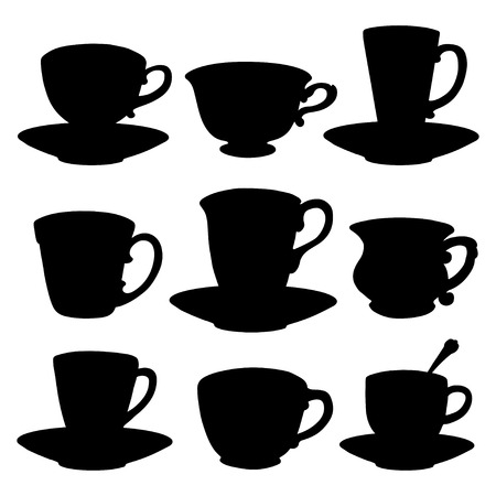 tea cups, coffee cups, spoon, saucer in Black silhouette isolated on a white background
