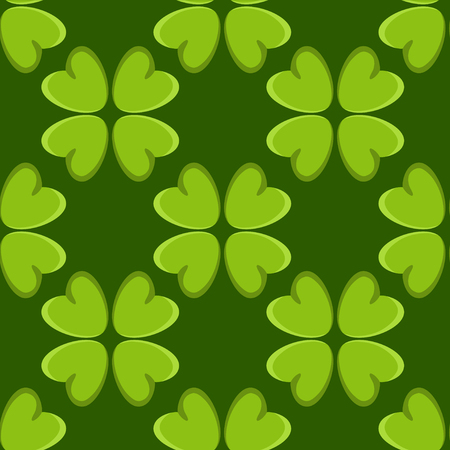 Holiday St. Patrick's day seamless pattern with irish four leaf lucky clovers Vector