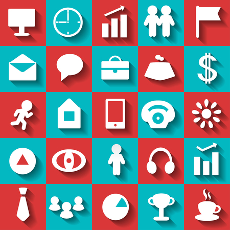 Set business flat icons - vector Vector