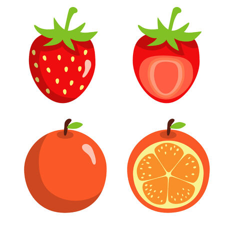 strawberry cartoon: Strawberries and oranges isolated on white background - vector  Illustration