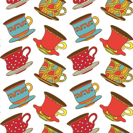 demitasse: Seamless pattern with tea cups, coffee cups - vector  Illustration