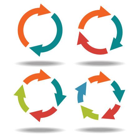 Flechas Conjuntos de iconos círculo aisladas sobre fondo blanco - vector Foto de archivo - 26519007