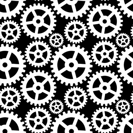 Abstract seamless pattern with cogwheels in black and white - vector  Vector