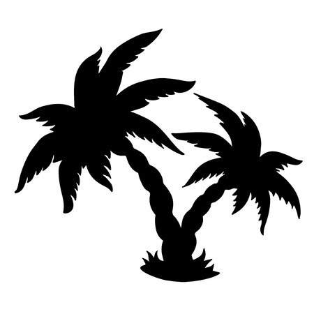 Coconut palms trees black silhouettes isolated on white  - vector  Vector