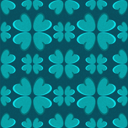 Holiday St. Patricks Day seamless pattern with four leaf lucky clovers - vector  Vector