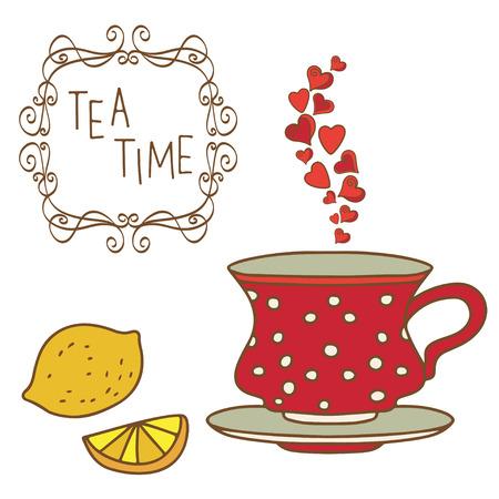 coffeecup: Set tea cup, coffee cup, whole lemon, slice lemon, frame isolated on a white - vector
