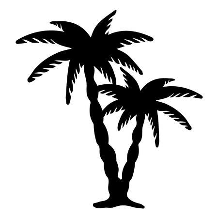 palm branch: Coconut palms trees black silhouettes isolated on white  - vector