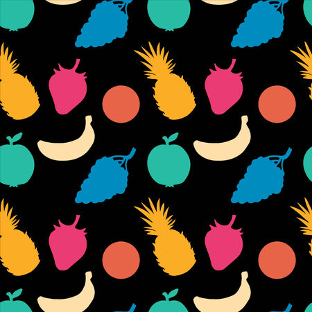 Seamless Pattern with Fruits and Berries  Pineapple  Strawberry  Apple  Orange  Grapes  Banana - vector Vector