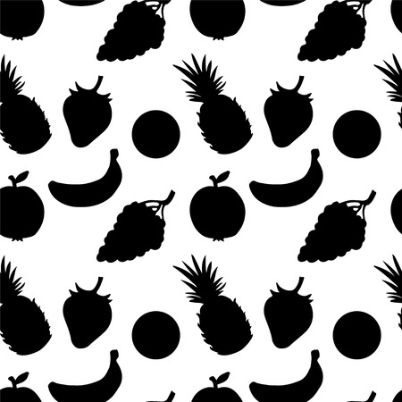 Seamless Pattern with Fruits and Berries in Black and White  Pineapple  Strawberry  Apple  Orange  Grapes  Banana - vector Vector