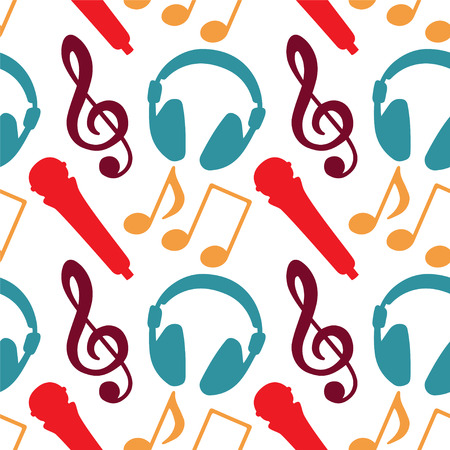 earpieces: Seamless Pattern with Music Notes, Treble Clef, Microphone, Headphones - vector  Illustration