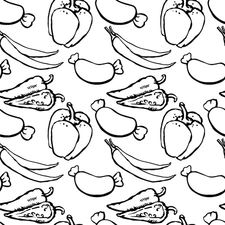 Seamless pattern with sausages, red hot chili peppers and bell peppers  Vector