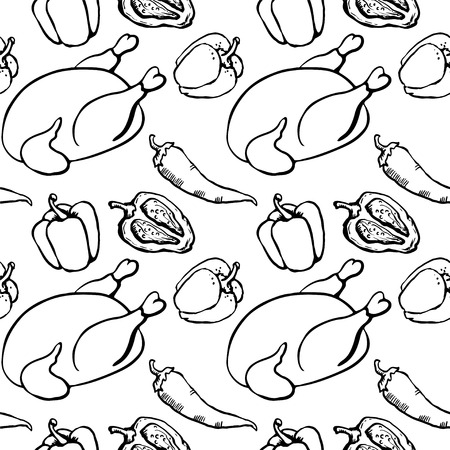 Seamless pattern with chicken, red hot chili peppers and bell peppers  Vector