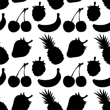 Seamless Pattern with Fruits and Berries in Black and White  Pineapple  Strawberry  Cherry  Raspberry  Banana - vector Vector