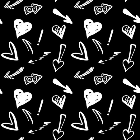 Seamless Pattern with Hearts and Arrows in Black and White  Monochrome   Vector