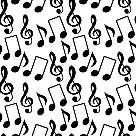 Seamless Pattern with Music Notes, Treble Clef in Black and White - vector