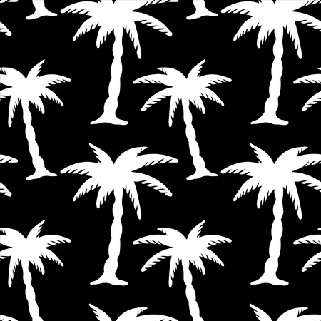 Seamless Pattern with Coconut Palm Trees in Black and White   Vector