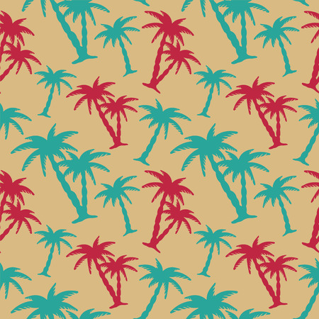 Seamless Pattern with Coconut Palm Trees   Vector
