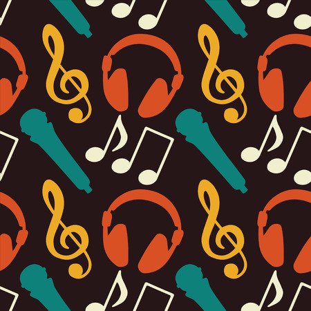 earpieces: Seamless Pattern with Music Notes, Treble Clef, Microphone, Headphones