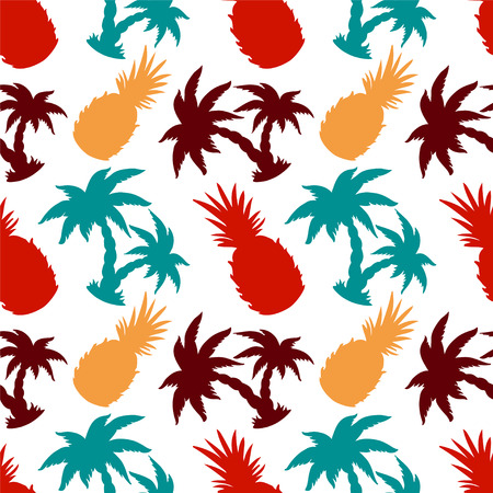 Seamless Pattern with Silhouette Coconut Palm Trees and Pineapples