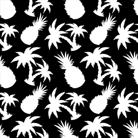 Seamless Pattern with Silhouette Coconut Palm Trees and Pineapples in Black and White - vector